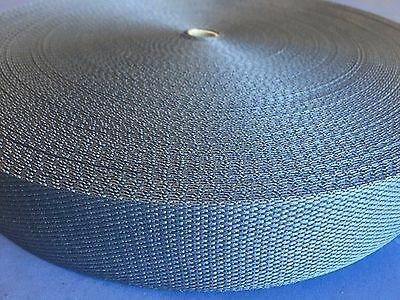 Webbing 38mm charcoal / dark grey strap 50 metres roll meter ( not black)