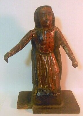 Antique Carved Wood SANTOS Religious SAINT FIGURE Statue Christianity
