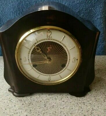Smiths Art Deco 8 Day Striking Mantel Clock Bakelite Case