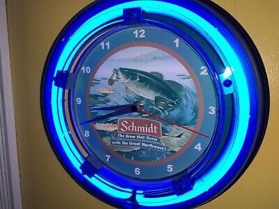 Schmidt Bass Fishing Beer Bar Man Cave Advertising Blue Neon Wall Clock Sign