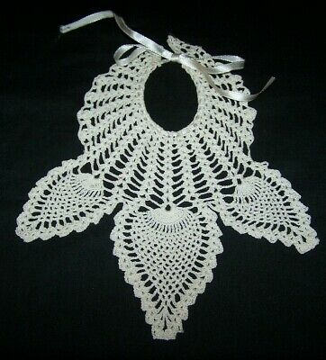 Vintage Hand Crocheted Baby Bib-White Cotton-Large Doll-Home Made-Eat-Protector
