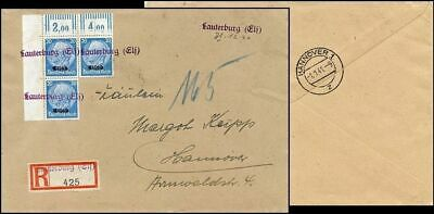 Ge387. German Occupation France  Elsass Cover Lauterburg Provisional Cancel 1940
