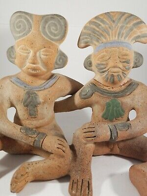 Pre Columbian Style Mexican Sitting Couple.  Terracotta. Clay.  Vintage.  ~6 lbs