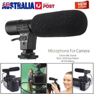 3.5mm Microphone Stereo Audio Video Mic for Nikon Canon DSLR Camera Camcorder AU