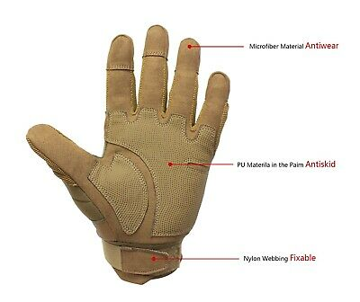 Tactical Hard Knuckle Gloves Army Military Combat Hunting Shooting Duty Gear