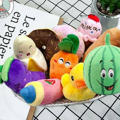 12X Pet Dog Soft Chew Toy Puppy Doggy Plush Sound Eggplant Carrot Squeaker Toys
