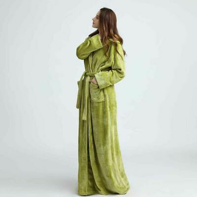 Flannel Long Robe Hooded Bathrobe Towelling Bath Robes-Dressing Gown