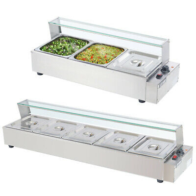 Glass Wet Well Bain Marie Hot Food Display Heat Warmer Kitchen with Pans & Lids