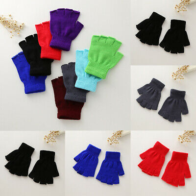 Childrens Boys Girls Black Magic Stretch Fingerless Half Finger Knitted Gloves
