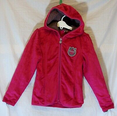 Girls Orchestra Hot Pink Furry Velour Fleece Lined Hooded Jacket Age 8 Years
