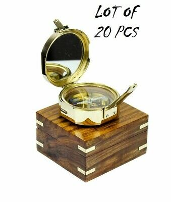 Nautical Brass Brunton Compass W/ Engraved Wooden Box Compass Lot of 20 Pieces