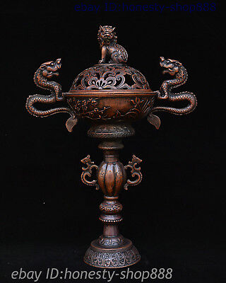 "13"" Old China Pure Bronze Foo Fu Dog Guardion Lion Dragon Incense Burner Censer"