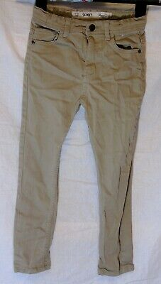 Boys Primark Beige Light Brown Denim Adjustable Waist Skinny Jeans Age 7-8 Years