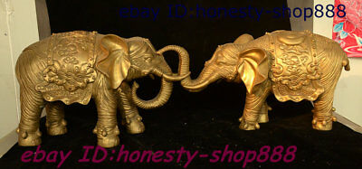 Antique China Copper Brass Fengshui Wealth Animal Elephant Heffalump Statue Pair
