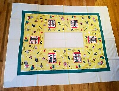 Vintage 1950s Tablecloth Mid Century Kitsch Red Turquoise Yellow 54 x 70 in. MCM