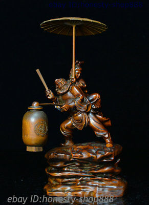 "8"" Chinese Exquisite Boxwood Carved Unique Zhong Kui Jia Mei Fine Quality Statue"