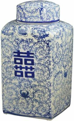 """Festcool 12.5"""" Classic Blue and White Porcelain Floral Square Jar Vase, China..."""