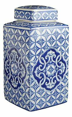 Festcool Classic Blue and White Porcelain Square Jar Vase, China Ming Style, ...