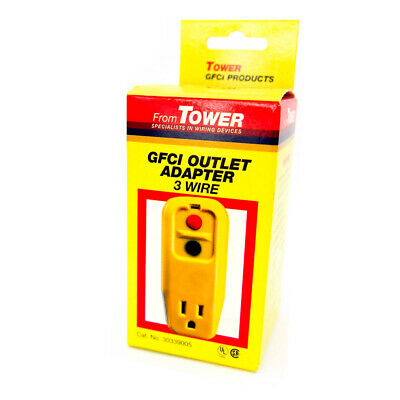 Tower Manufacturing 30339005 15 amp 3-Wire 125V GFCI Outlet Adapter