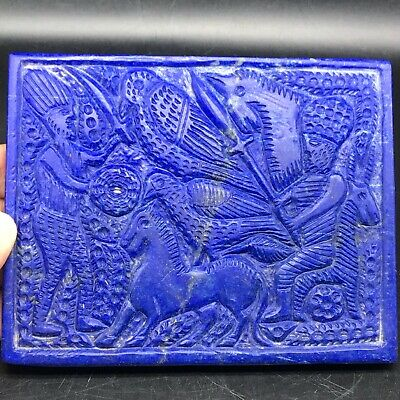 Unique Sassanian Old Lapis lazuli stone Tablet with king Horses Deer Bird 475gr