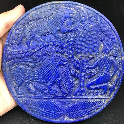 Unique Sassanian Old Lapislazuli stone plate with king Hunter Tiger Wolf 472gr