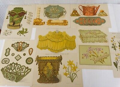 Antique Color Litho Floral Print Pattern Lot of 8 Embroidery Whimseys Trinkets