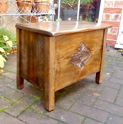 Arts & Crafts Planked Oak Box~Strap Hinges~Tray Slide~Sewing~Storage~Lamp Chest