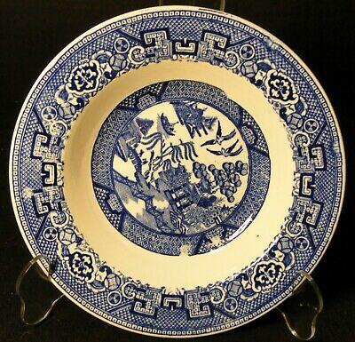 "Homer Laughlin Blue Willow Rimmed Soup Bowl 8 1/4"" Excellent"