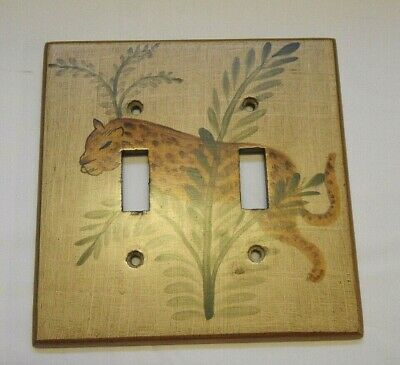 4 pc. switch plate outlet cover Decorative set Leopard Jungle metalic gold brown