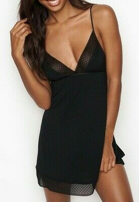 $45 Victorias Secret Black Chemise Lace Slip Babydoll Nightgown Lingerie Nwt