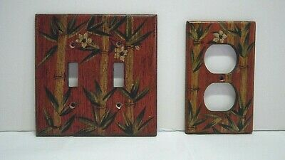 2 pc. Decorative Switch plate outlet cover red green Bamboo print