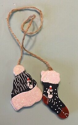 Wooden Hat Stocking Twine Christmas Ornament Glittery Red White Blue
