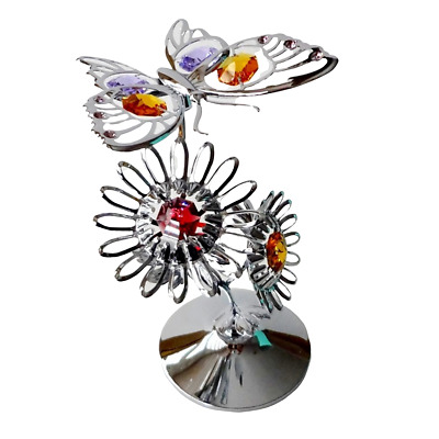 Crystocraft Butterfly On Flower Ornament With Swarovski Elements (with Box)