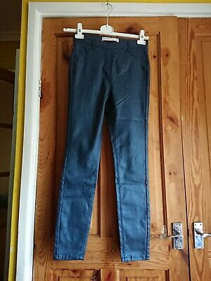 Next Pull On Leggings Mid Rise Blue Wet Look Size 8R BNWT