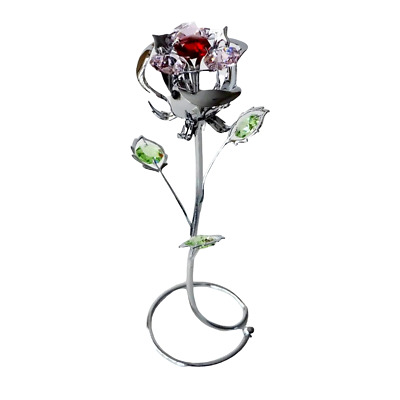 Crystal Crystocraft Rose Bud Ornament With Swarovski Elements (with Box)