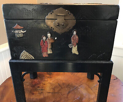 Chinese Lacquer Box on Stand Inlaid Hardstone Decoration of Figures Landscape