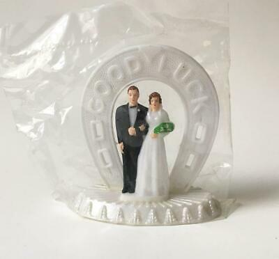 Vintage Cake Topper Wedding Bride Groom Good Luck Arch New Old Stock