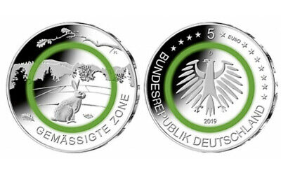 2019 Germany 5 Euro Temperate Zone polymer coin random mint Rabbit coin
