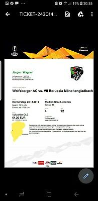 Tickets borussia mönchengladbach Vs WAC am 28.11 in grazPrint @home, Tickets