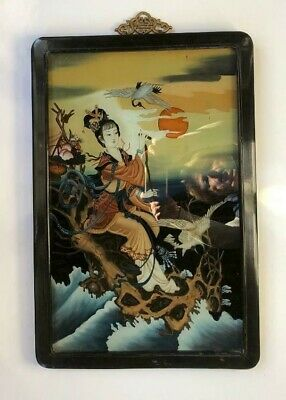 Asian~EXQUISITE ANTIQUE CHINESE FRAMED REVERSE PAINT ON GLASS~Lady&Crane Birds