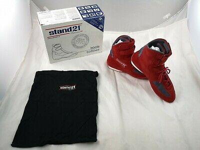 Stand 21 Racing Boots Suede Red Kart Shoes FIA8856-2000 UK 10.5 EU 45 New Boxed