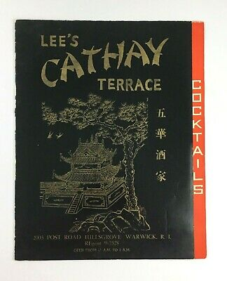 1950s Lees Cathay Terrace Chinese Restaurant Menu Warwick RI Cocktails Asian