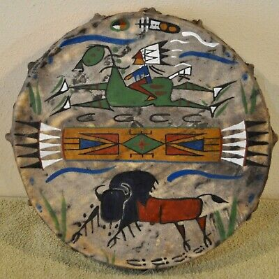 """A Good Day / 13"""" Native Drum Painted by Lakota Artist Sonja Holy Eagle"""