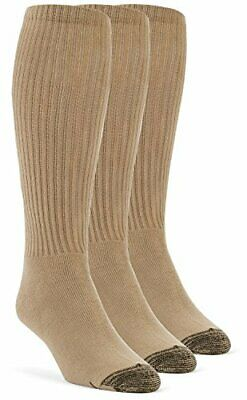 YolBer Men's Cotton Super Soft Over the Calf Cushion Socks - 3 Pairs Small Nude