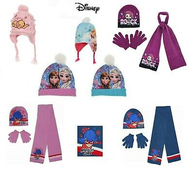 Disney Official Licensed Girls Frozen Hat Scarf and Gloves Set and Bobble Hats