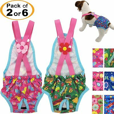 Pack of 2 or 6 Female Dog Diapers Washable Reusable Suspenders for Small Pet