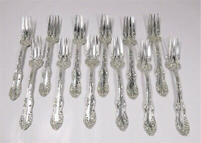 "12 Towle ""Old English"" 1892 Sterling Silver 6"" Salad Dessert Forks Mono Forbes"