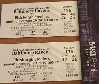 2 Tickets Pittsburgh Steelers vs Baltimore Ravens LOWER LEVEL NICE!