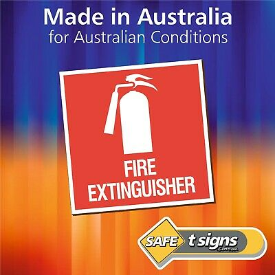 Fire Extinguisher - Sticker 100 x 100mm - Self Adhesive Decal- Australian Made