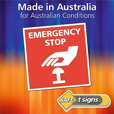 Emergency Stop - Sticker 100 x 100mm - Self Adhesive Decal - Australian Made